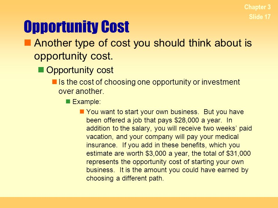 4/20/2017 Chapter 3. Opportunity Cost. Another type of cost you should think about is opportunity cost.
