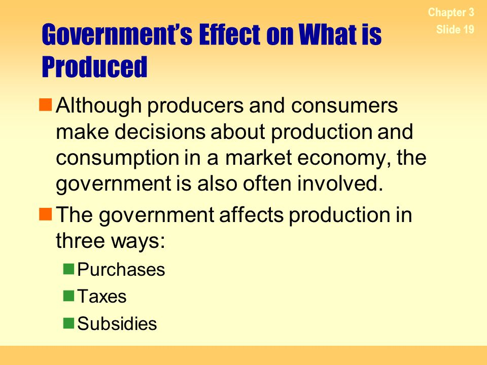 Government's Effect on What is Produced