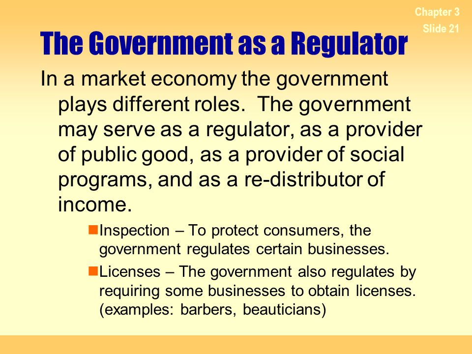 The Government as a Regulator