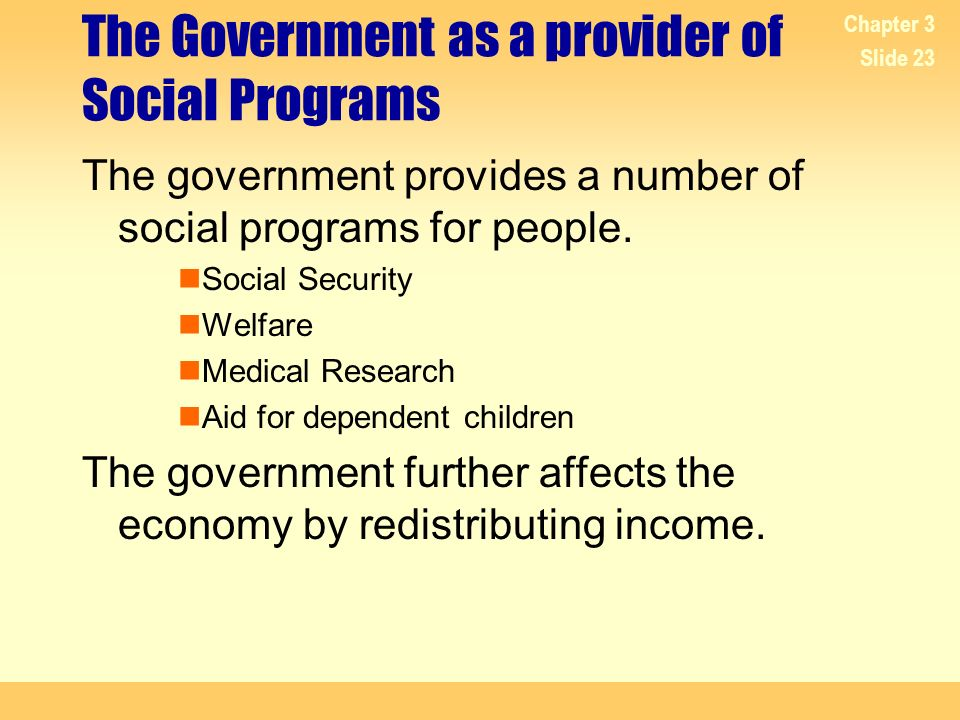 The Government as a provider of Social Programs