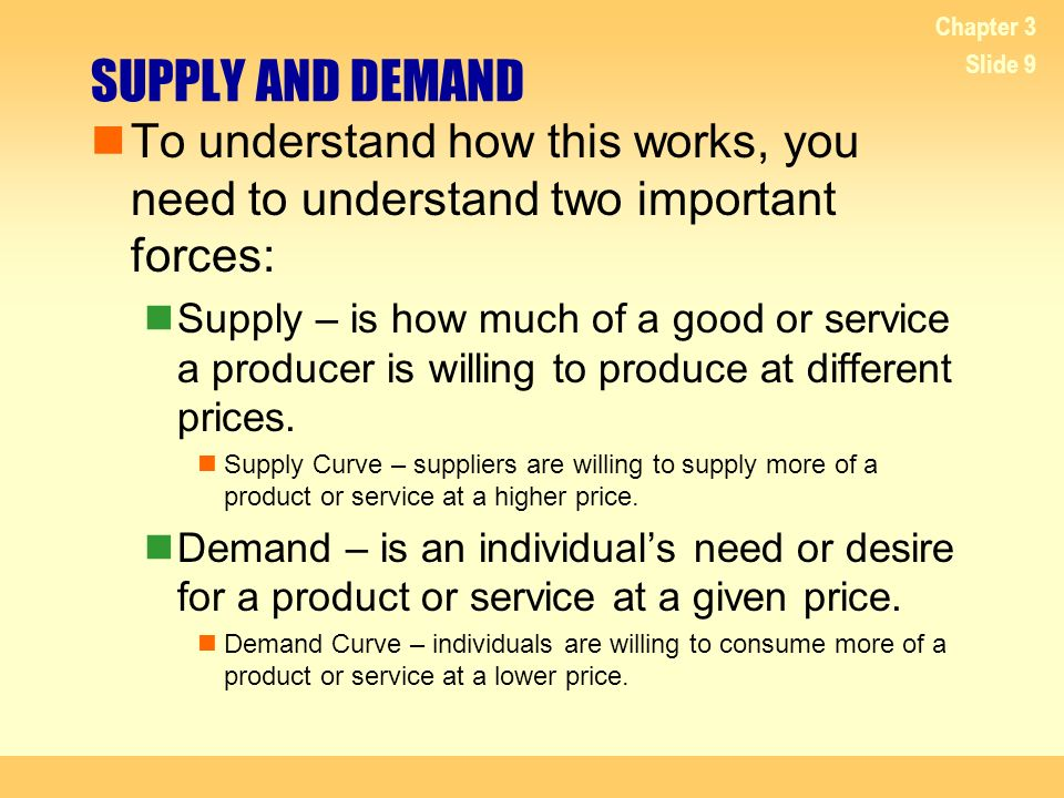 4/20/2017 Chapter 3. SUPPLY AND DEMAND. To understand how this works, you need to understand two important forces: