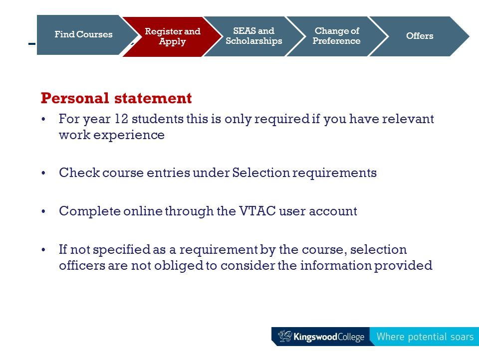 vtac personal statement nursing