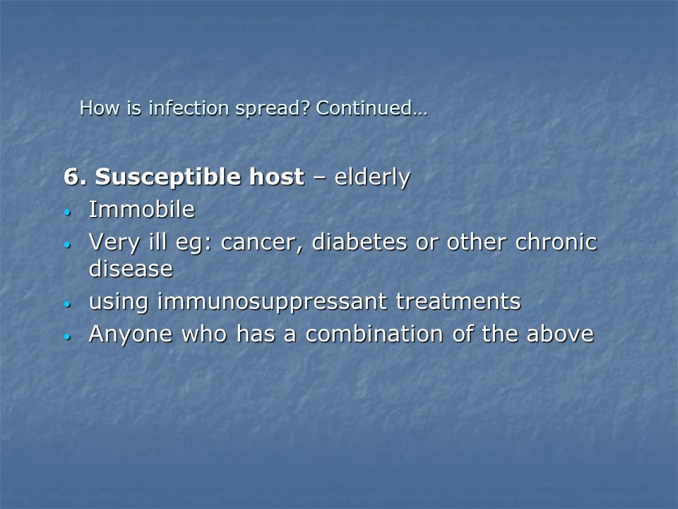 How is infection spread Continued…