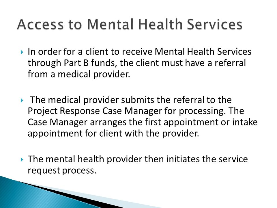 Access to Mental Health Services