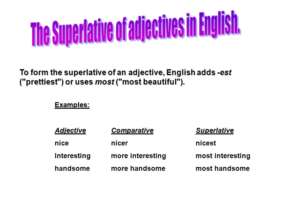 The Superlative of adjectives in English.