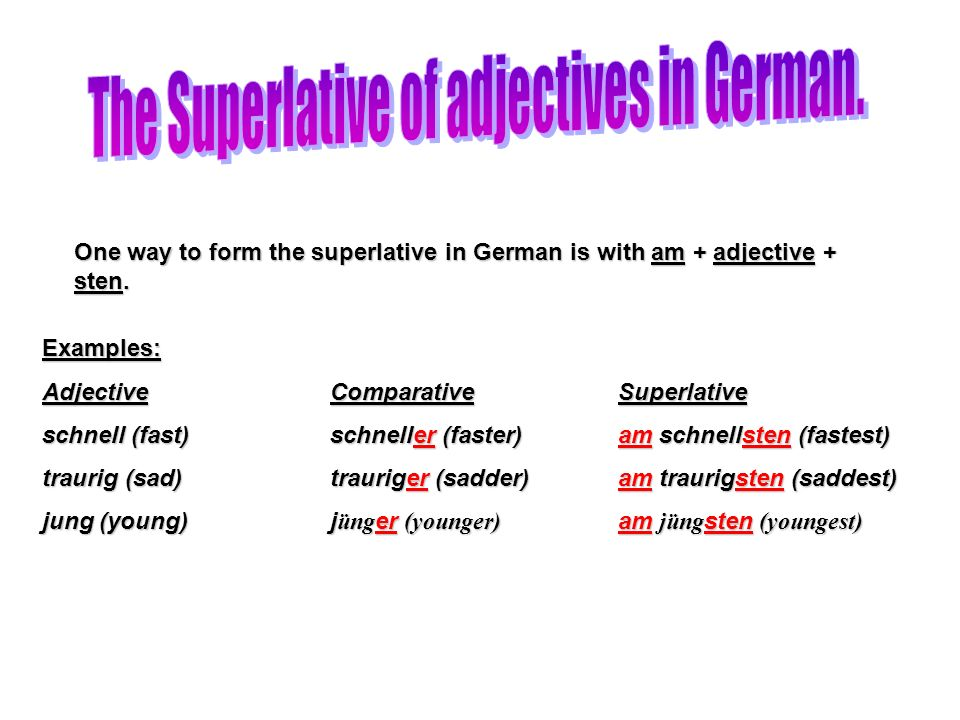 The Superlative of adjectives in German.