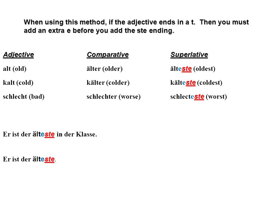 When using this method, if the adjective ends in a t