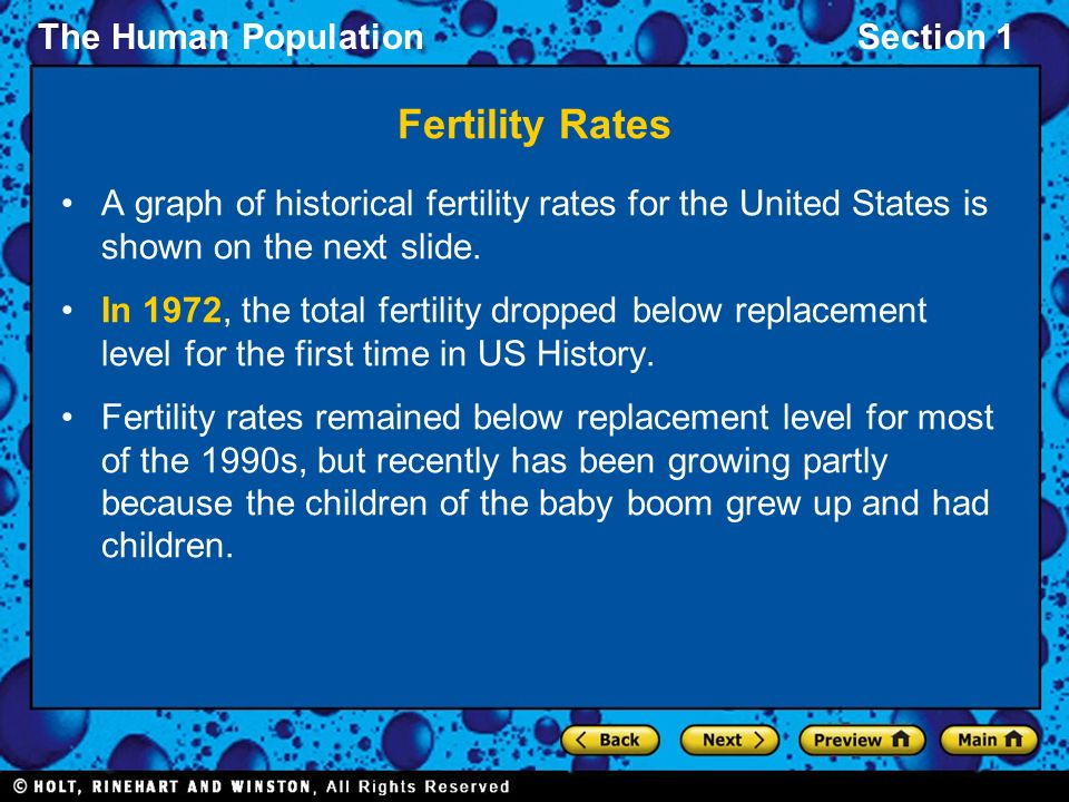 Fertility Rates A graph of historical fertility rates for the United States is shown on the next slide.
