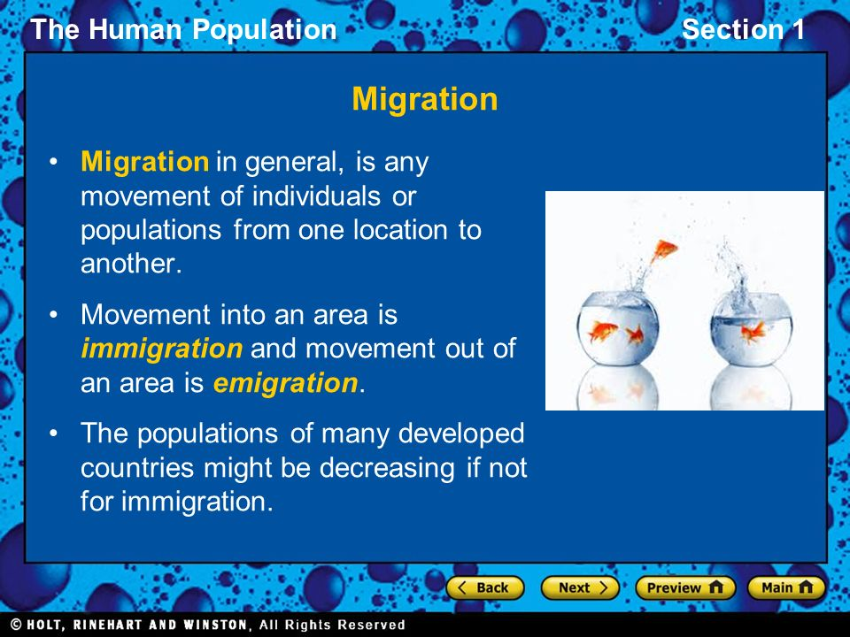 Migration Migration in general, is any movement of individuals or populations from one location to another.