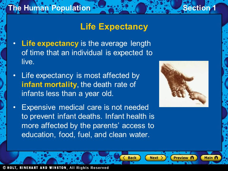 Life Expectancy Life expectancy is the average length of time that an individual is expected to live.