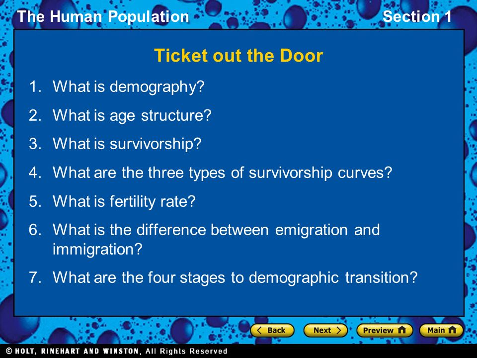 Ticket out the Door What is demography What is age structure
