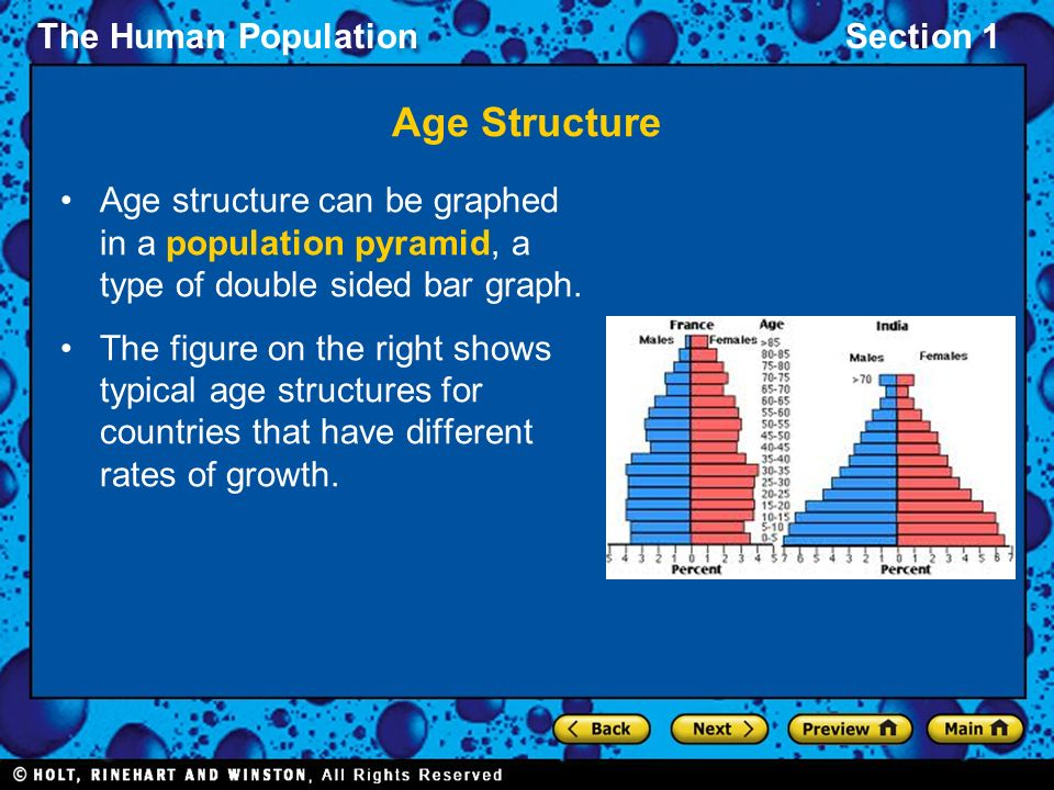 Age Structure Age structure can be graphed in a population pyramid, a type of double sided bar graph.