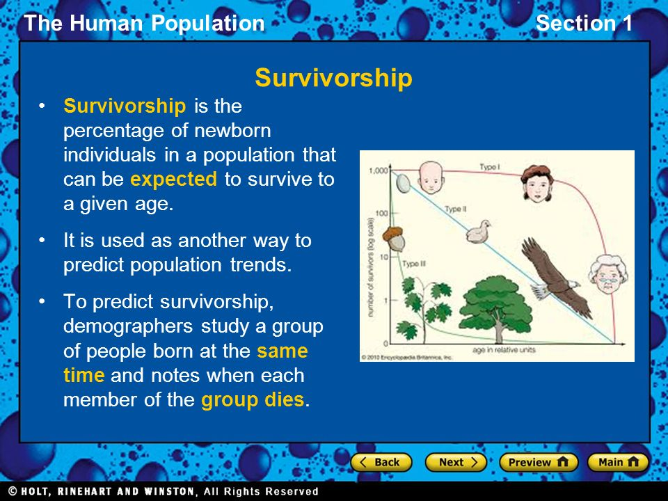 Survivorship Survivorship is the percentage of newborn individuals in a population that can be expected to survive to a given age.
