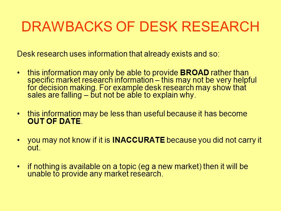 DRAWBACKS OF DESK RESEARCH