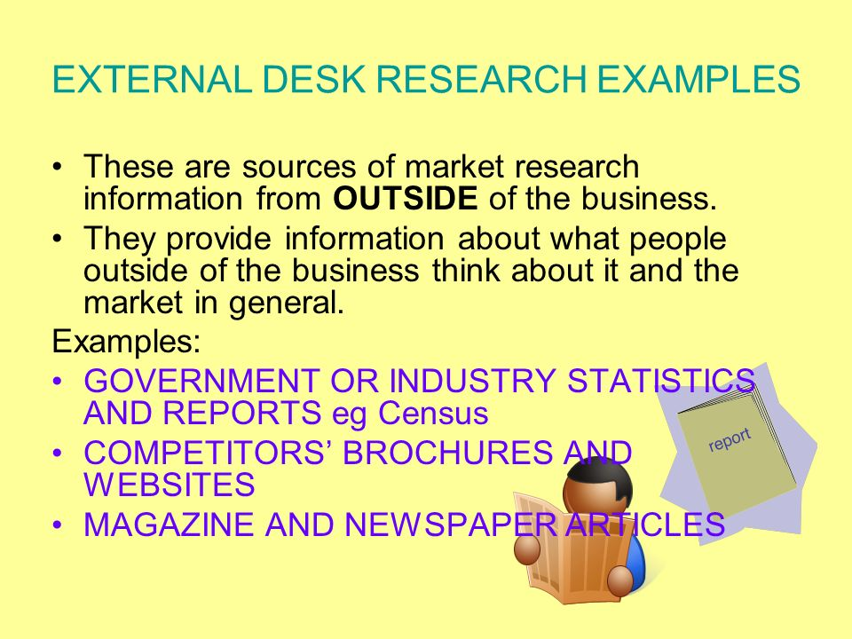 EXTERNAL DESK RESEARCH EXAMPLES