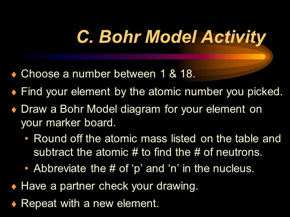 C. Bohr Model Activity Choose a number between 1 & 18.