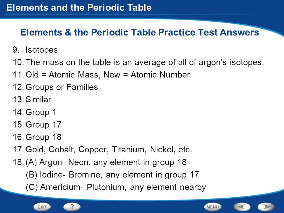 Table of contents introduction to atoms organizing the elements elements the periodic table practice test answers urtaz Choice Image
