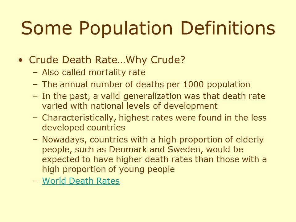 Some Population Definitions
