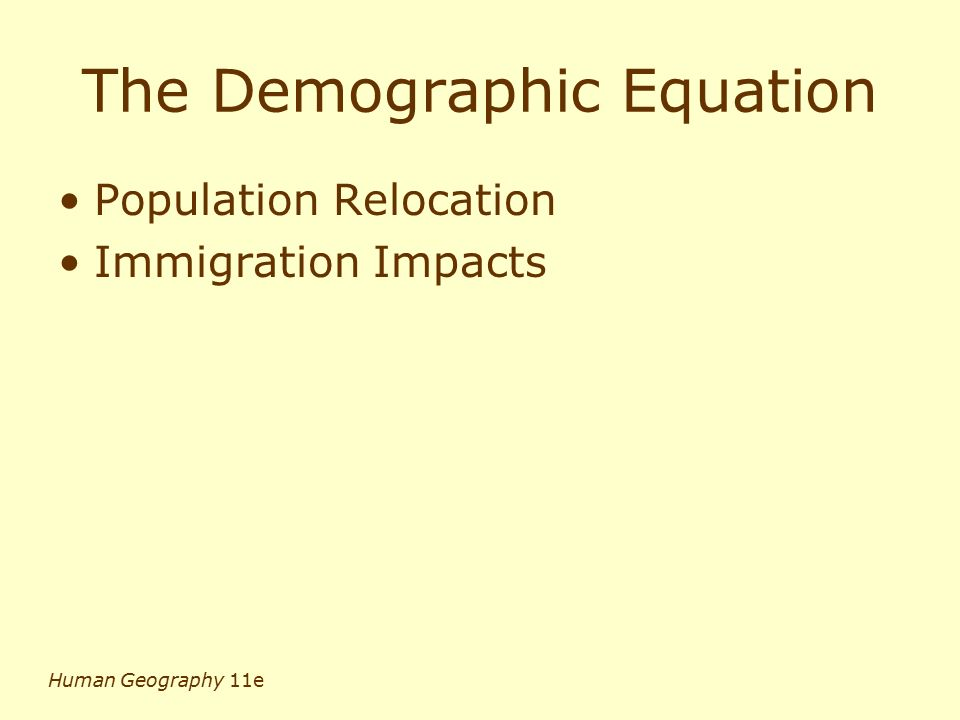 The Demographic Equation