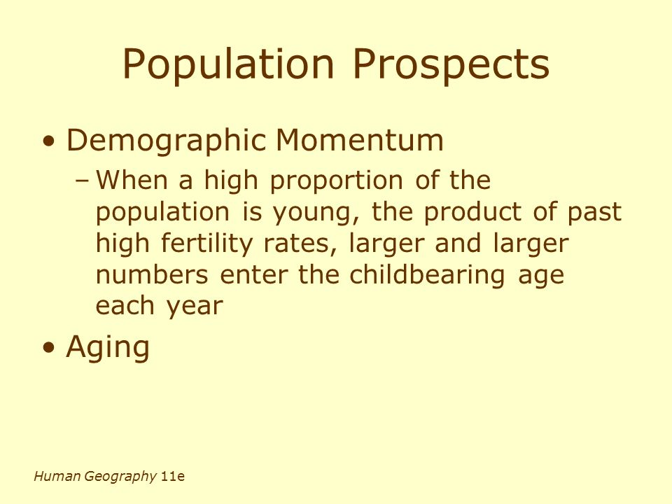 Population Prospects Demographic Momentum Aging