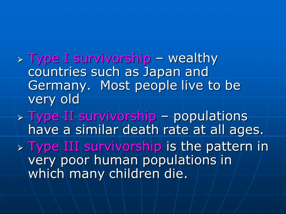 Type I survivorship – wealthy countries such as Japan and Germany