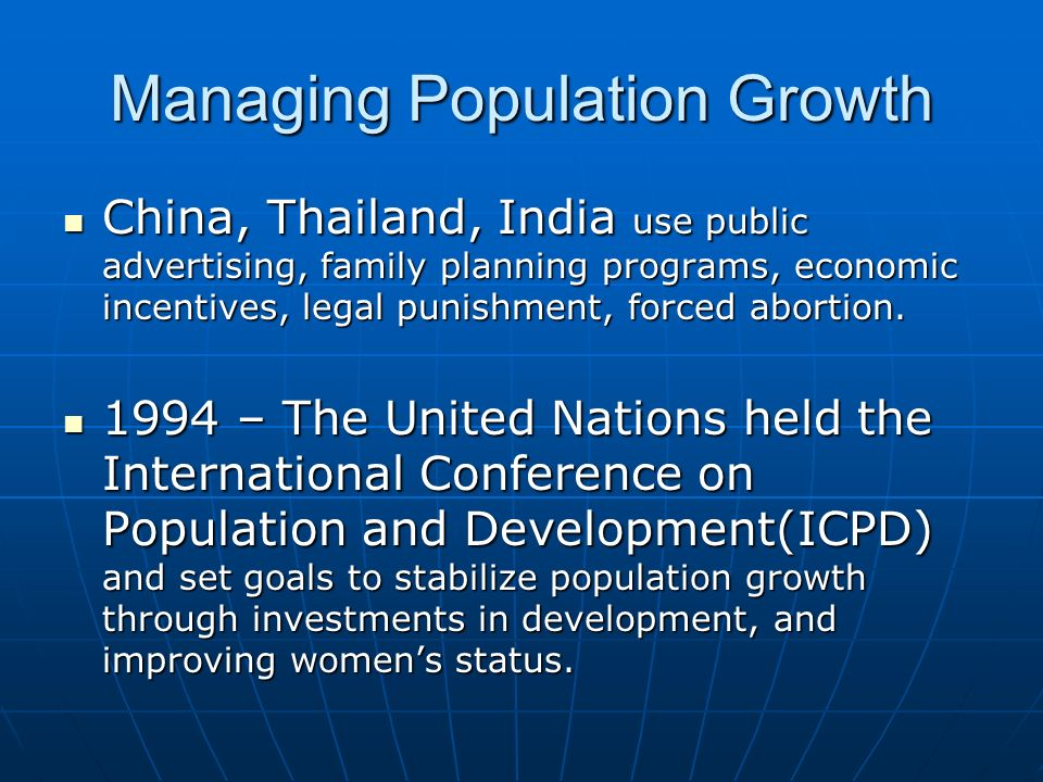Managing Population Growth
