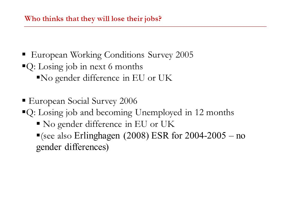European Working Conditions Survey 2005 Q: Losing job in next 6 months