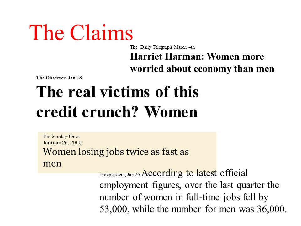The Claims The real victims of this credit crunch Women