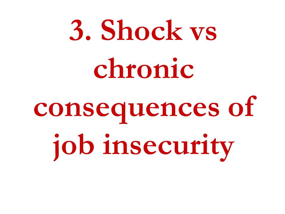 3. Shock vs chronic consequences of job insecurity