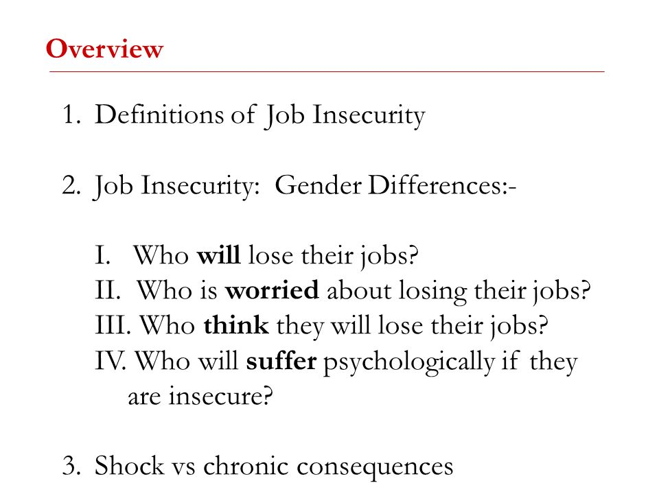Overview Definitions of Job Insecurity. Job Insecurity: Gender Differences:- I. Who will lose their jobs