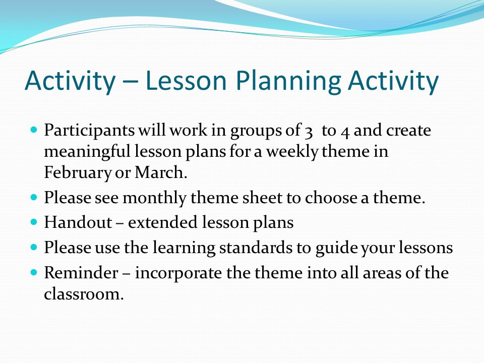 Activity – Lesson Planning Activity