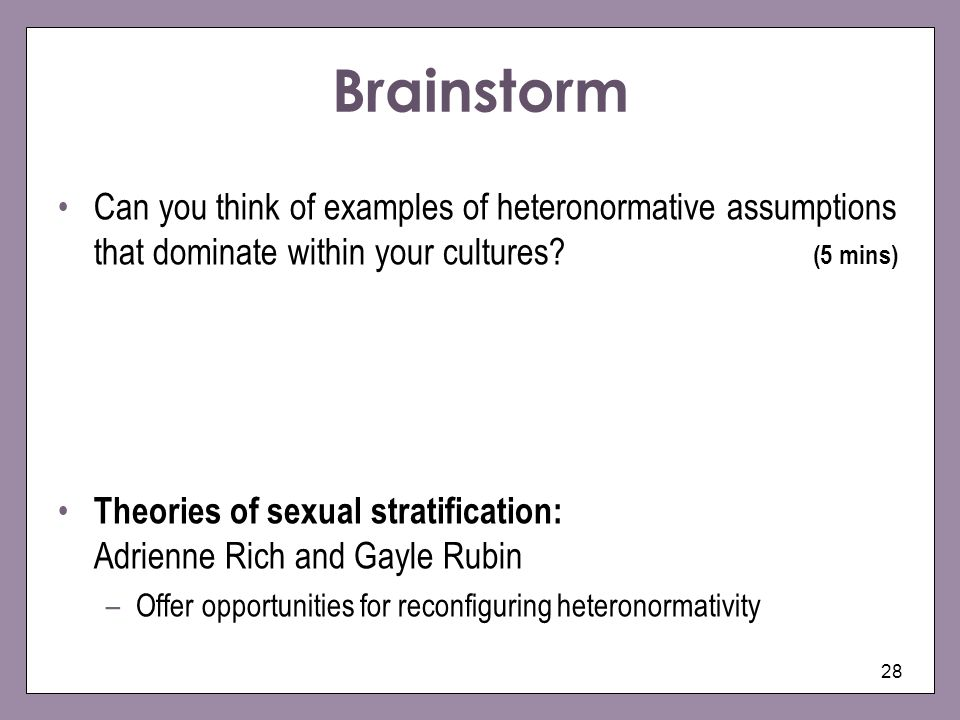 heteronormartive notions of gender The term heteronormative is used to describe a culture or belief system which assumes that heterosexuality is the norm heteronormativity can take a number of forms, and it is often very subtle and pervasive one of the most obvious impacts of heteronormativity is the marginalization of people.