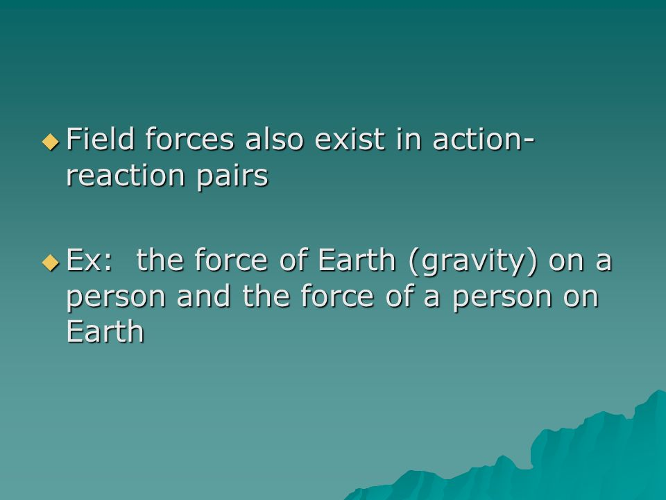 Field forces also exist in action-reaction pairs