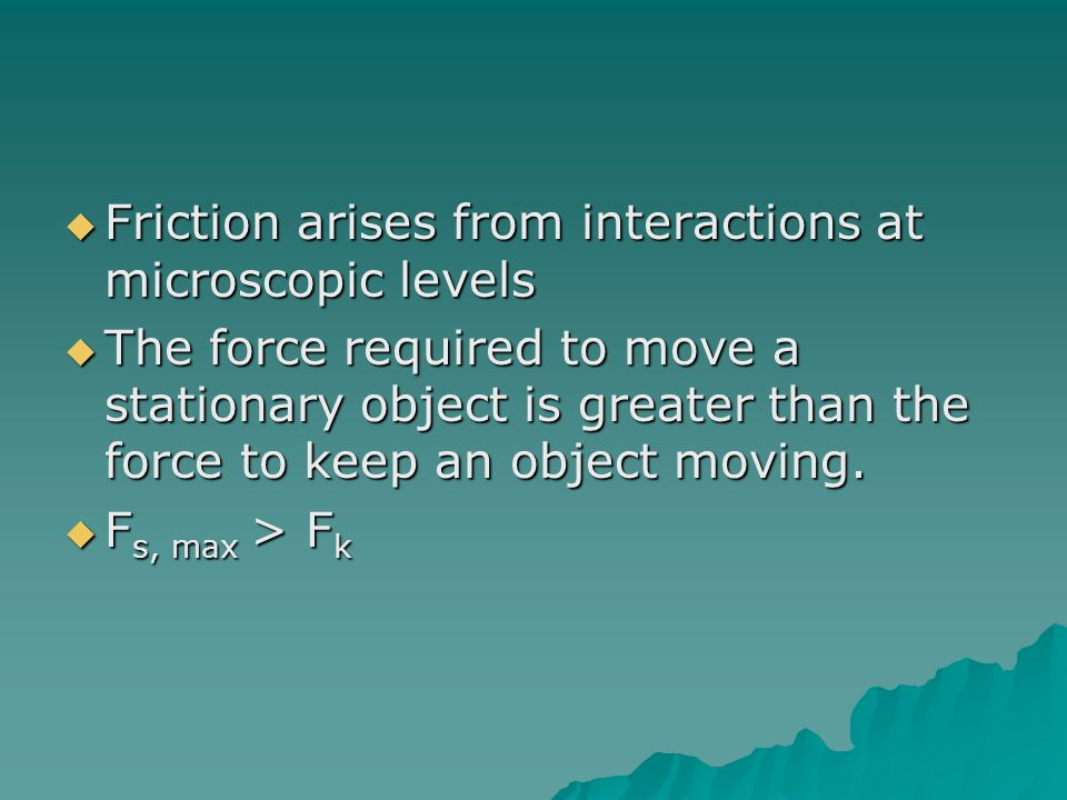 Friction arises from interactions at microscopic levels