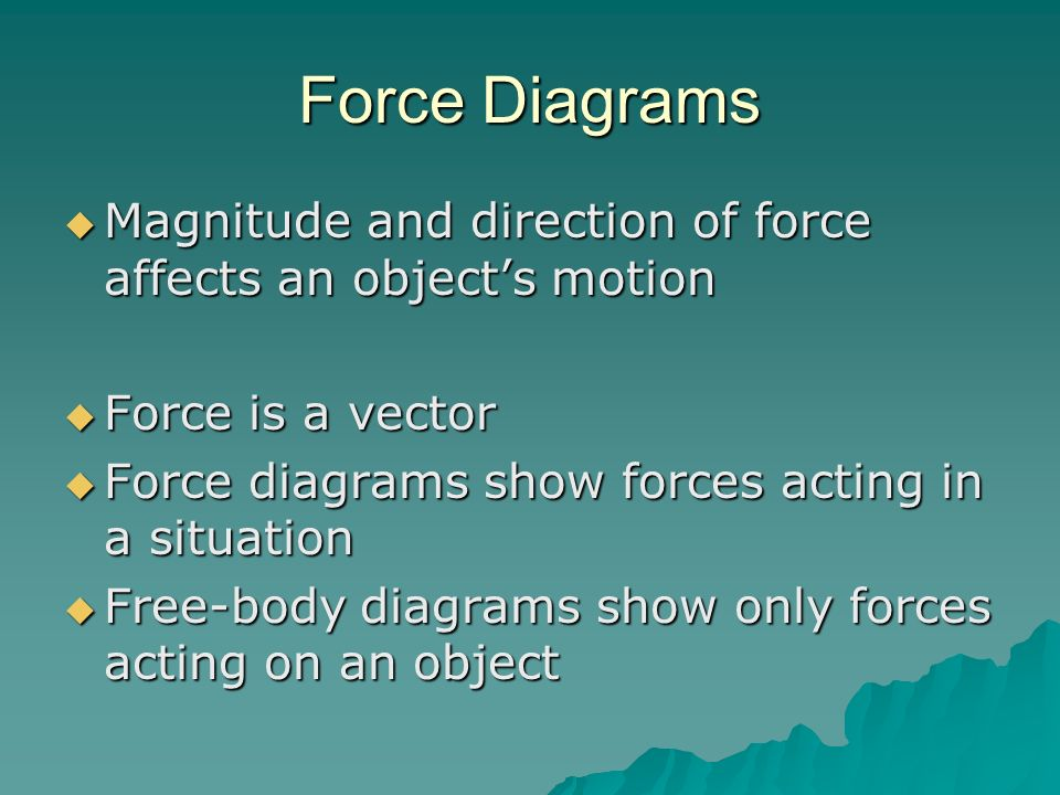 Force Diagrams Magnitude and direction of force affects an object's motion. Force is a vector. Force diagrams show forces acting in a situation.