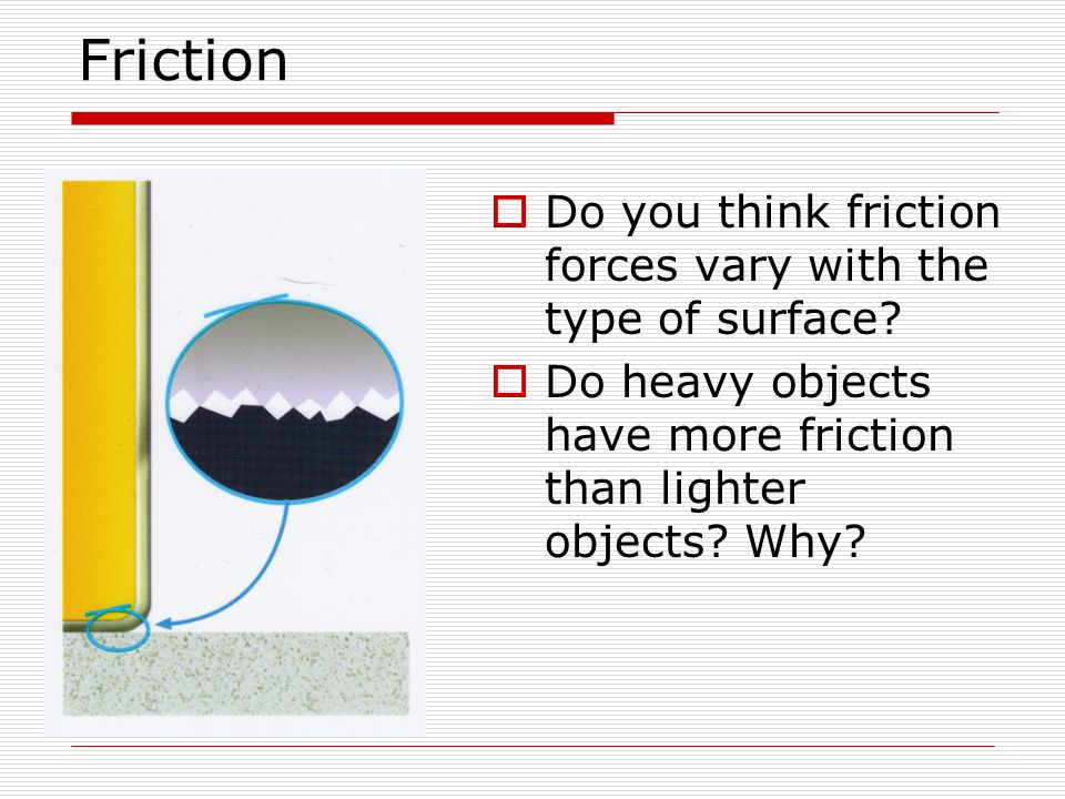 Friction Do you think friction forces vary with the type of surface