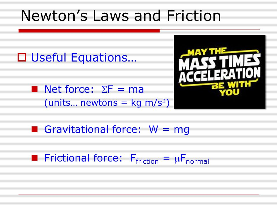 Newton's Laws and Friction