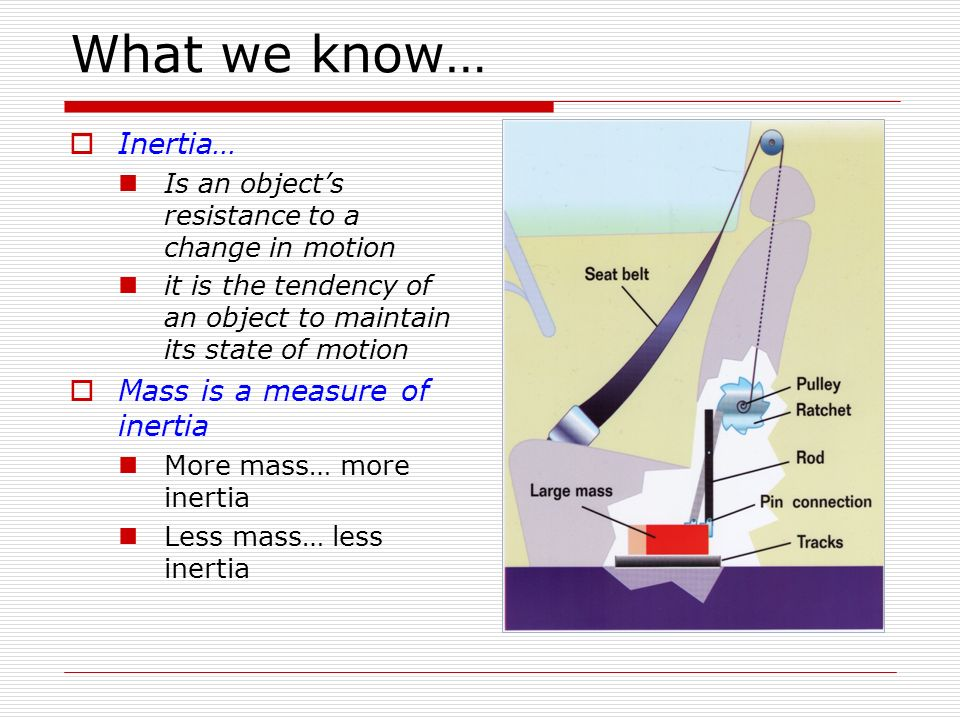 What we know… Inertia… Mass is a measure of inertia