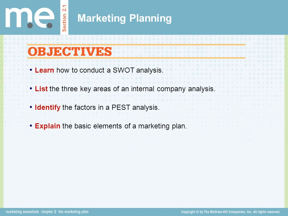 Marketing Planning Learn how to conduct a SWOT analysis.
