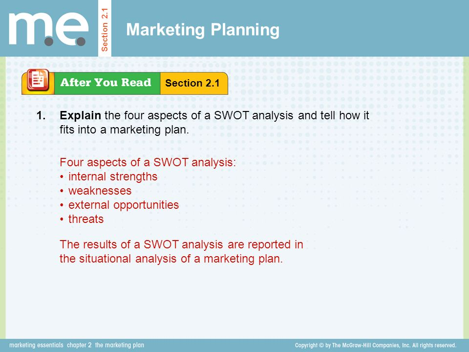 Marketing Planning Section 2.1. Section Explain the four aspects of a SWOT analysis and tell how it fits into a marketing plan.