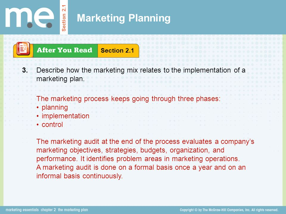 Marketing Planning Section 2.1. Section Describe how the marketing mix relates to the implementation of a marketing plan.