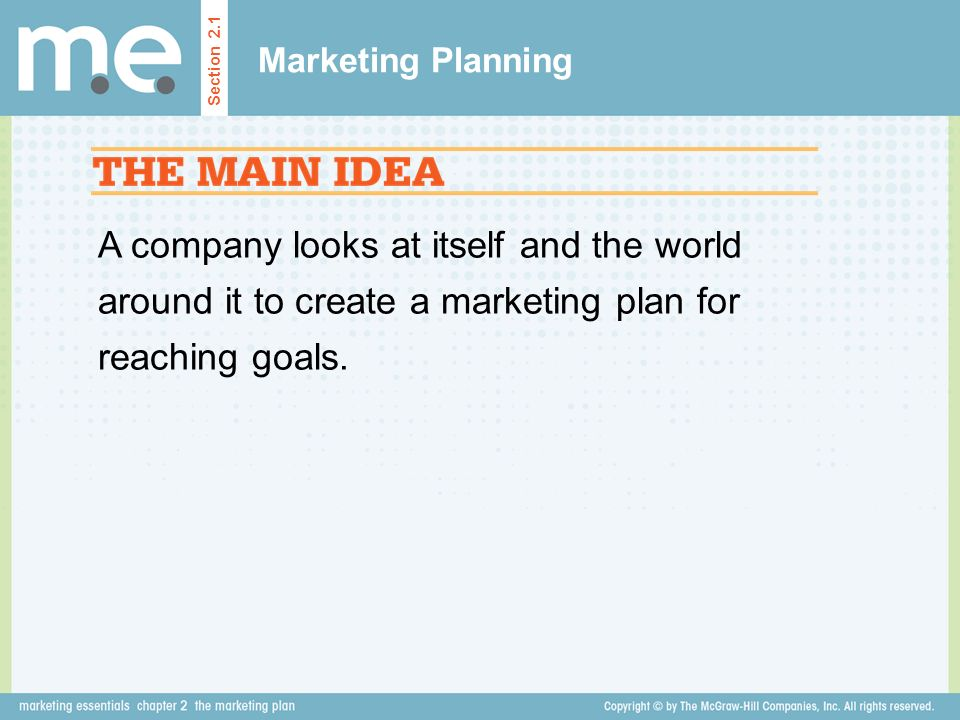 Marketing Planning Section 2.1.