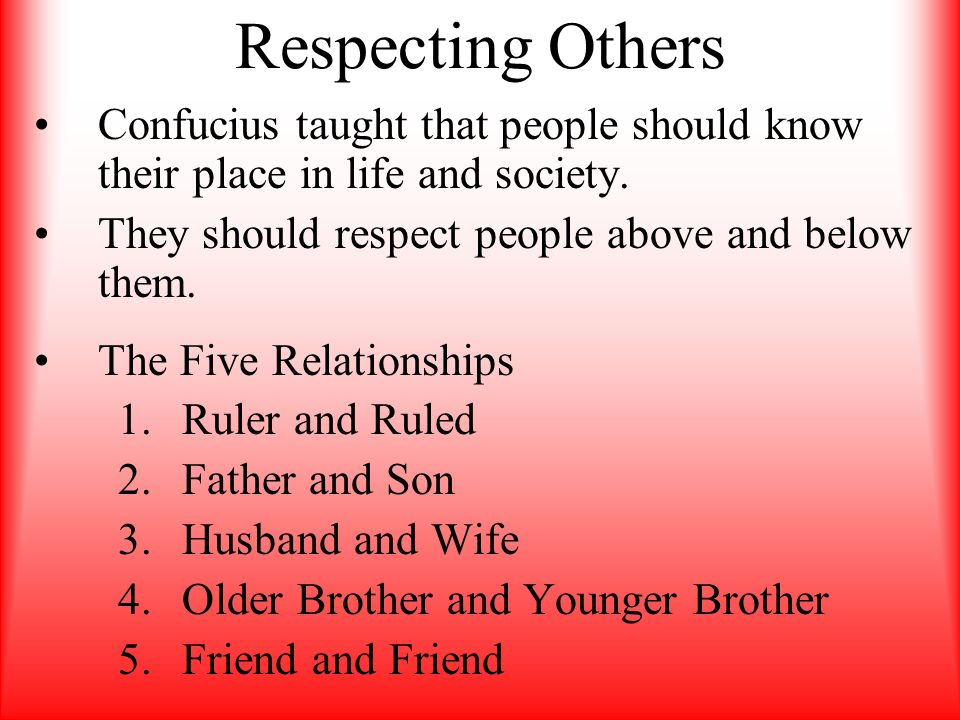 Respecting Others Confucius taught that people should know their place in life and society. They should respect people above and below them.