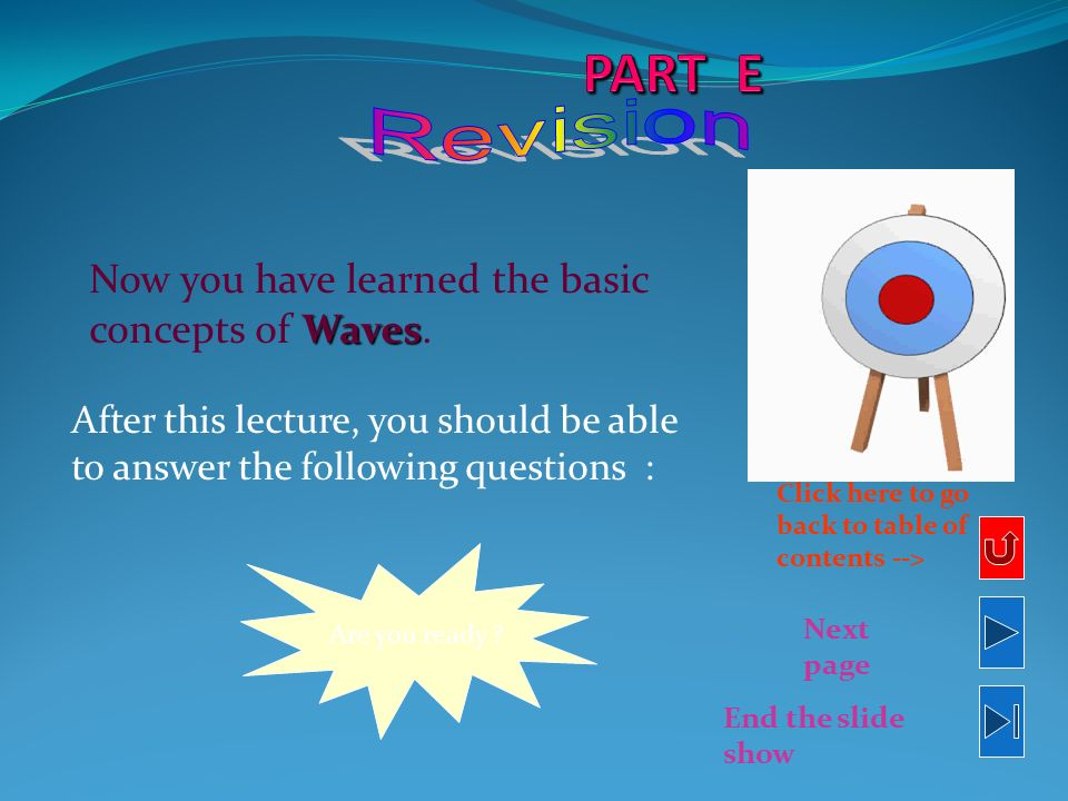 PART E Revision Now you have learned the basic concepts of Waves.