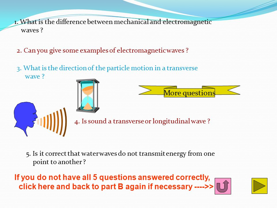 1. What is the difference between mechanical and electromagnetic waves