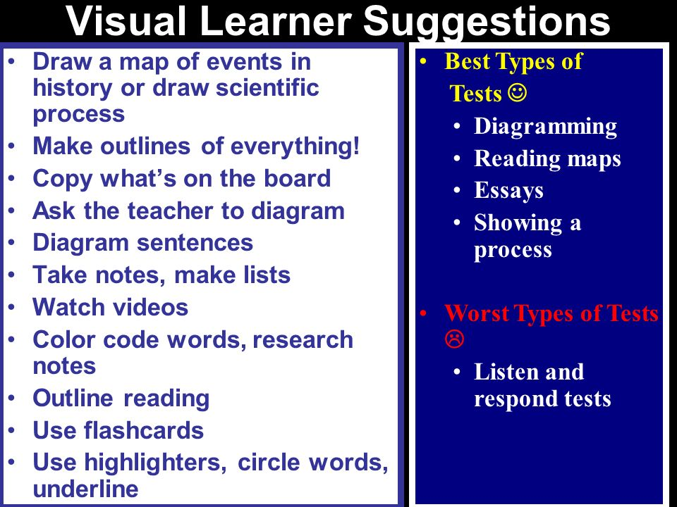 Visual Learner Suggestions