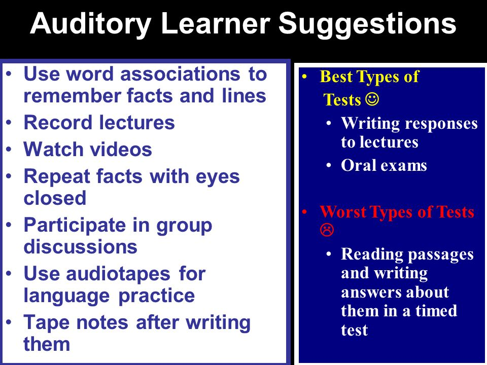 Auditory Learner Suggestions