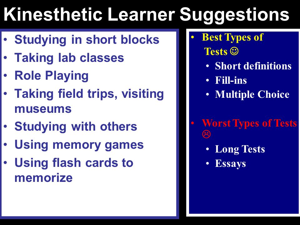 Kinesthetic Learner Suggestions