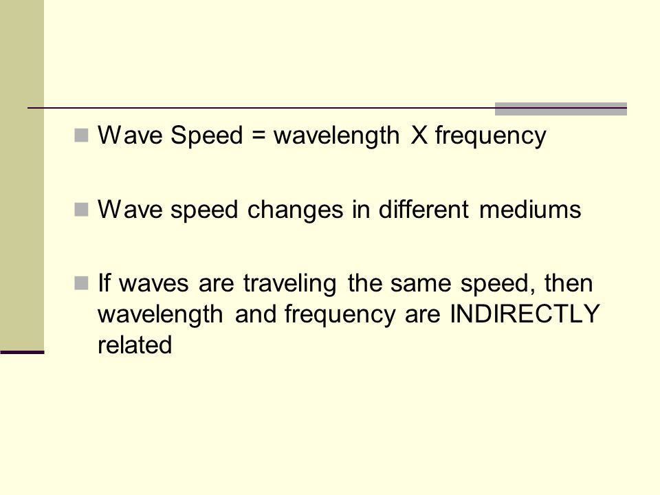 Wave Speed = wavelength X frequency