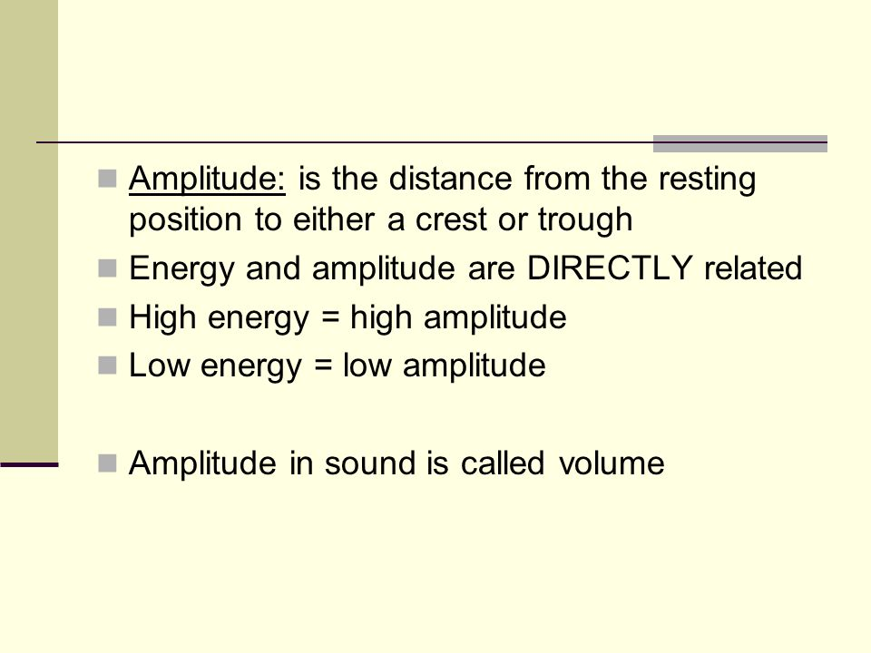 Amplitude: is the distance from the resting position to either a crest or trough